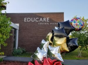 Birthday balloons in front of Educare
